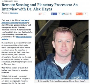 Remote Sensing and Planetary Processes: An Interview with Dr. Alex Hayes
