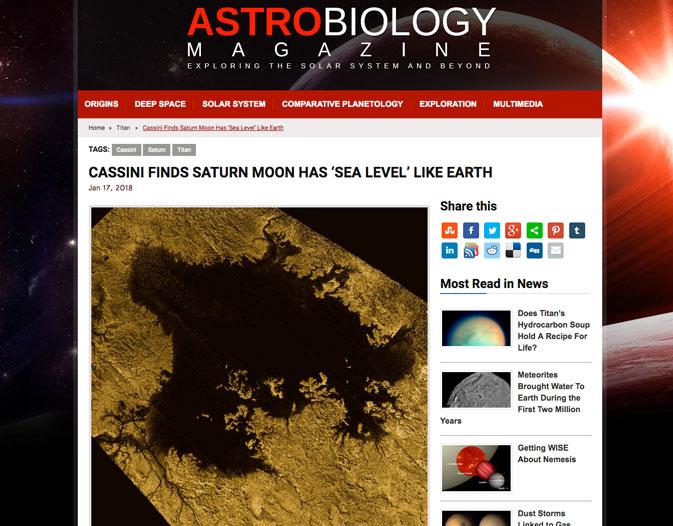 Cassini finds Saturn moon has 'sea level' like Earth