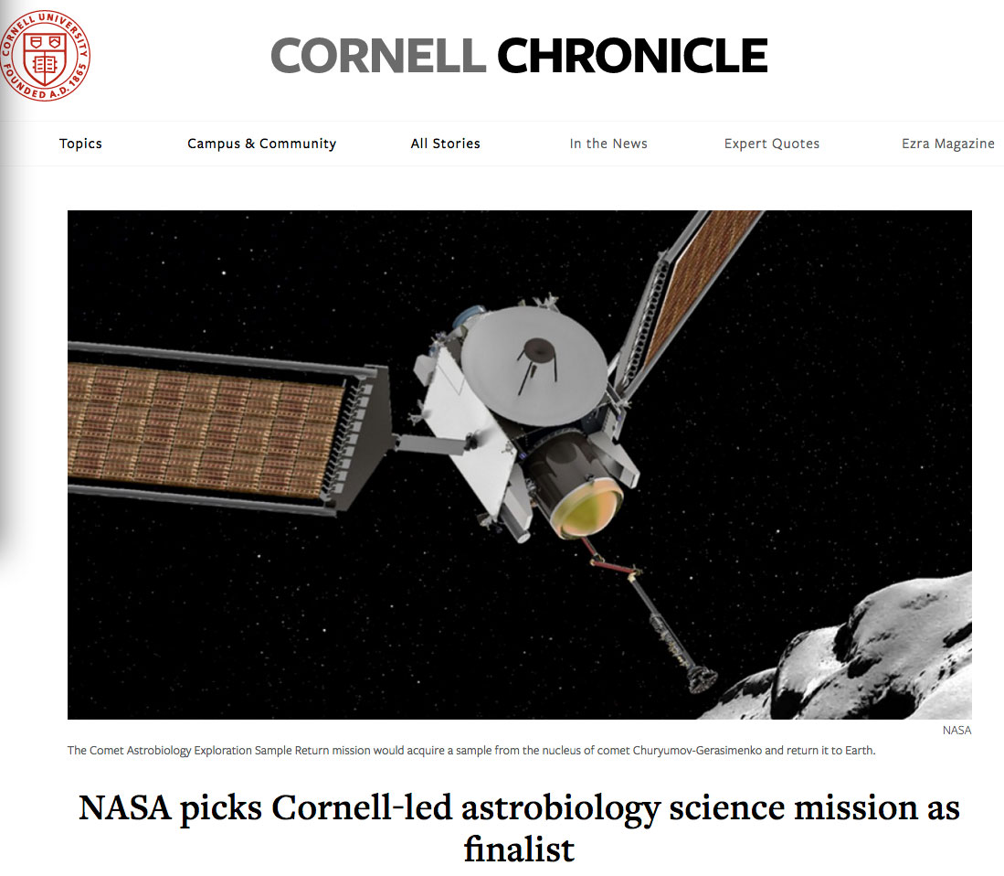 NASA picks Cornell-led astrobiology science mission as finalist