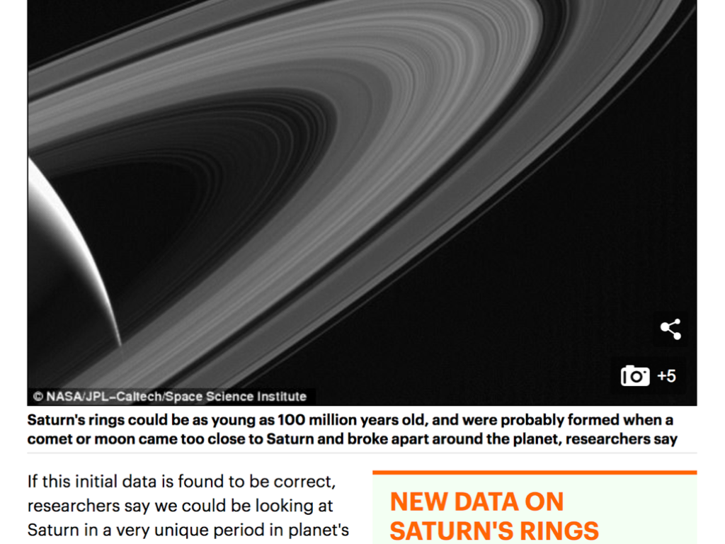 Saturn's rings may be BILLIONS of years younger than thought: Cassini data suggests they formed at the same time as dinosaurs roamed Earth