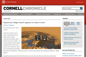 Cornell Press Release: Mysterious Magic Island appears on Saturn moon.