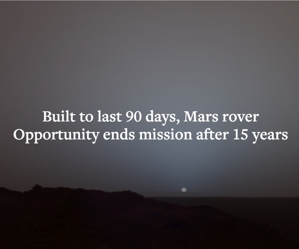 Built to last 90 days, Mars rover Opportunity ends mission after 15 years