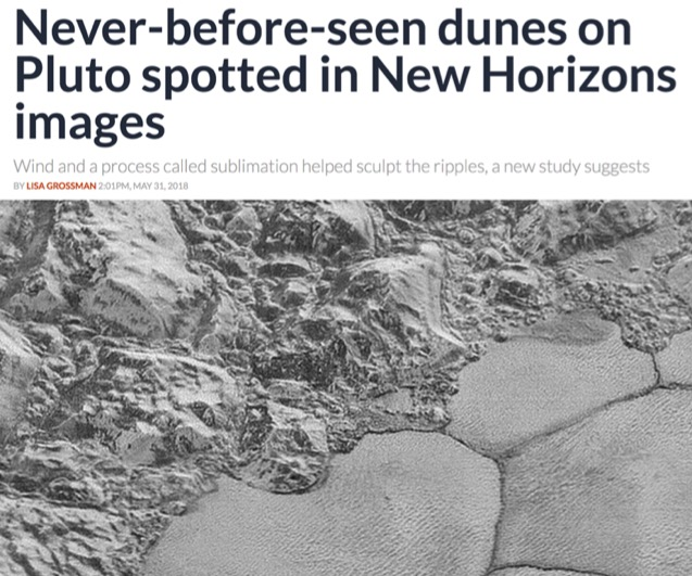Never-before-seen dunes on Pluto spotted in New Horizons images