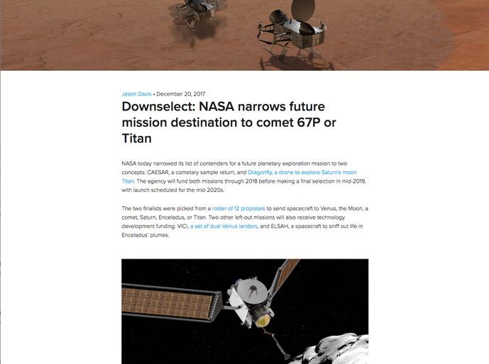 Downselect: NASA narrows future mission destination to comet 67P or Titan