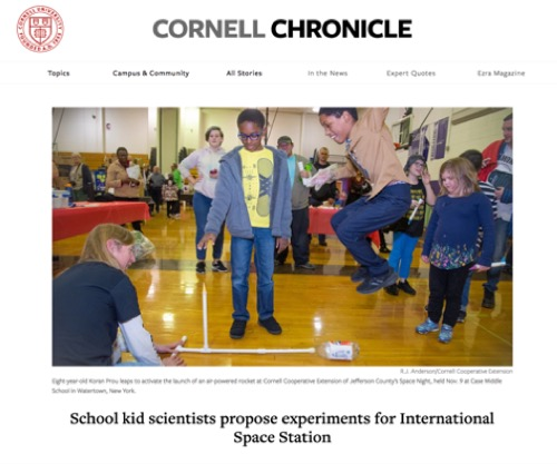 School kid scientists propose experiments for International Space Station