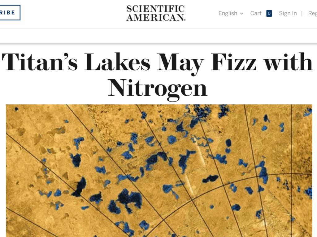 Titan's Lakes May Fizz with Nitrogen