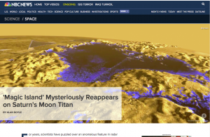 Magic Island Mysteriously Reappears on Saturns Moon Titan - NBC News, September 2014