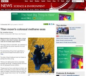 Titans Moons Collosal Methane Seas: BBC December 2013
