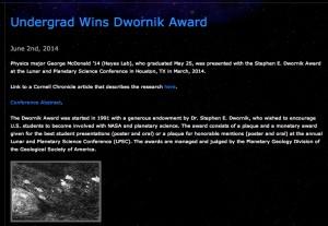 George McDonalds wins Dwornik Award at LPSC