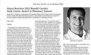 Hayes Wins 2012 Greeley Award EOS October 2013