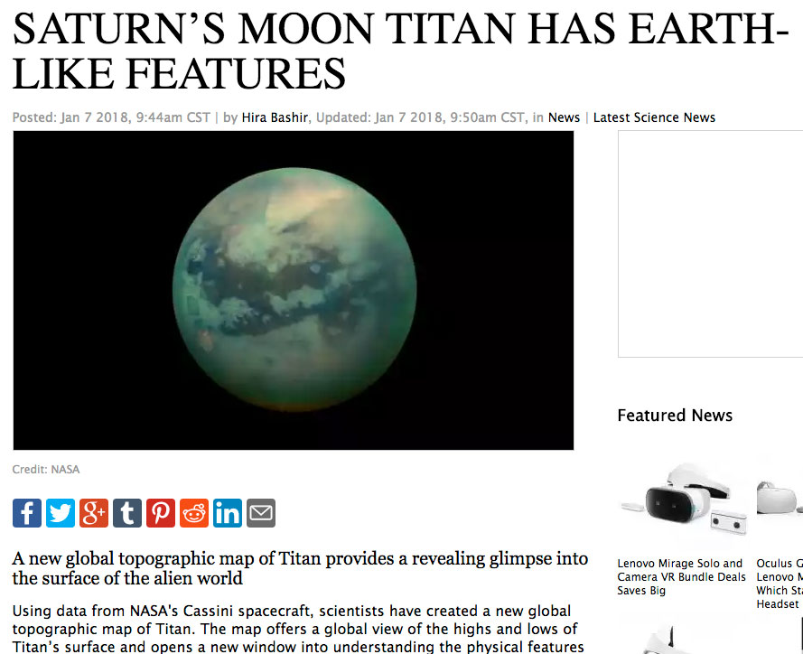 Saturn's moon Titan has Earth-like features