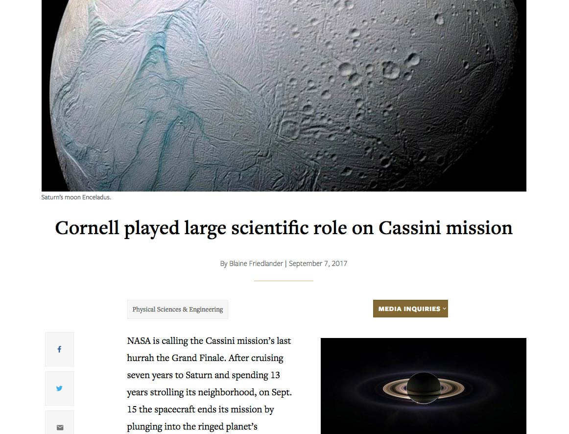 Cornell played large scientific role on Cassini mission