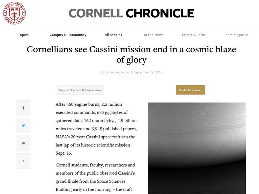 Cornellians see Cassini mission end in a cosmic blaze of glory