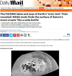 The FIZZING lakes and seas of Earths toxic twin Titan revealed- NASA study finds the surface of Saturn's moon erupts like a soda bottle