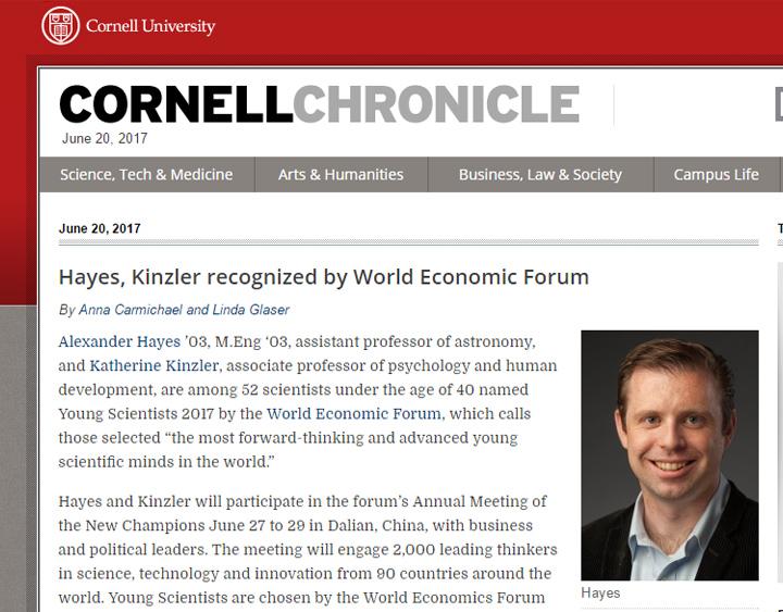 Hayes, Kinzler recognized by World Economic Forum