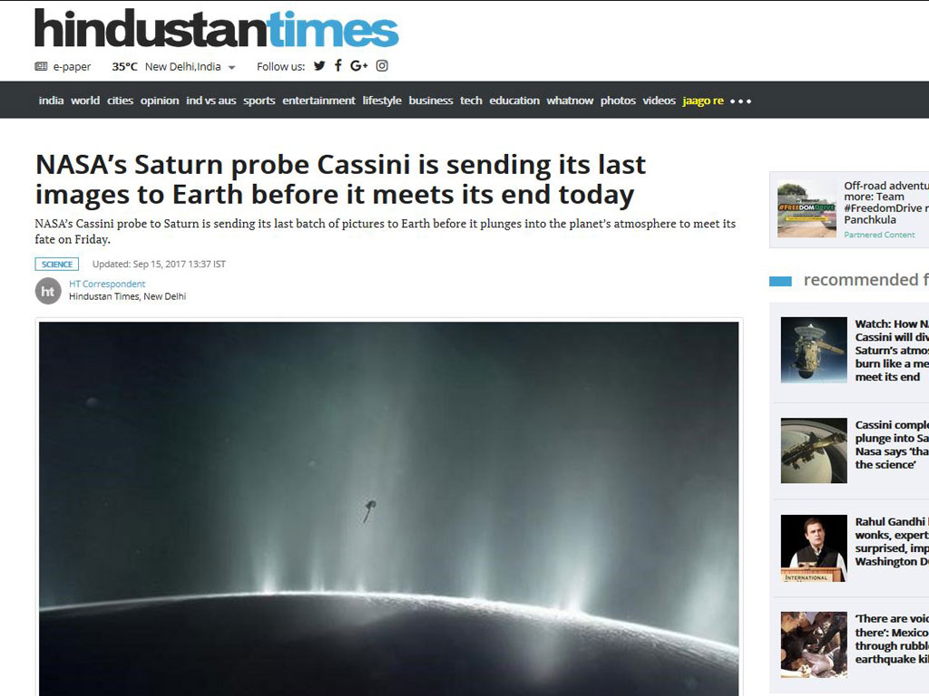 NASAs Saturn probe Cassini is sending its last images to Earth before it meets its end today