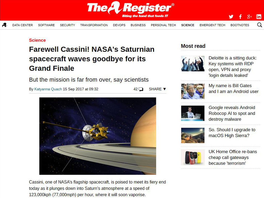 Farewell Cassini NASAs Saturnian spacecraft waves goodbye for its Grand Finale