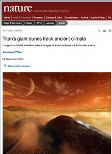 Titans Giant Dunes Track Ancient Climate - Nature, December 2014