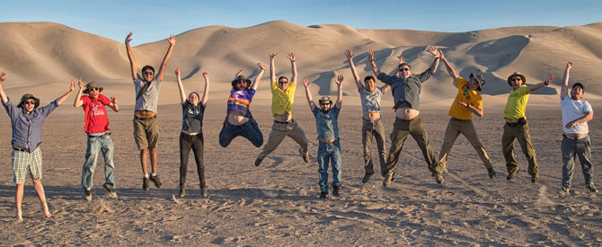 Hayes Research Group image of team jumping for joy during trip to Mojave desert